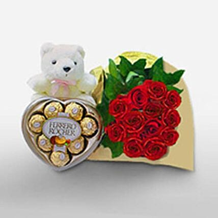 Rose Bunch With Teddy And Chocolates:Valentine's Day Chocolates to Philippines