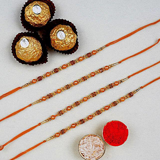 Golden Red Thread Rakhi With Ferrero Rocher 3 Pcs