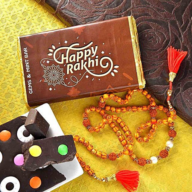 Rudraksha Beads Rakhi With Gems And Mint Chocolate Bar