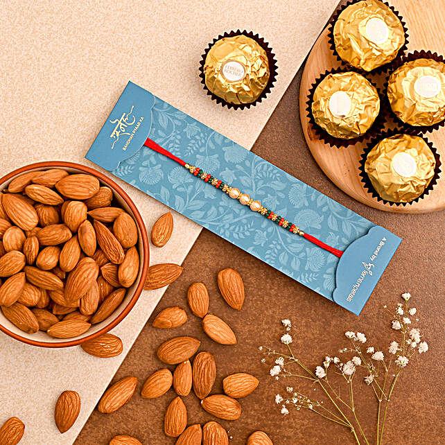 Golden Pearl Rakhi And Almonds With Ferrero Rocher