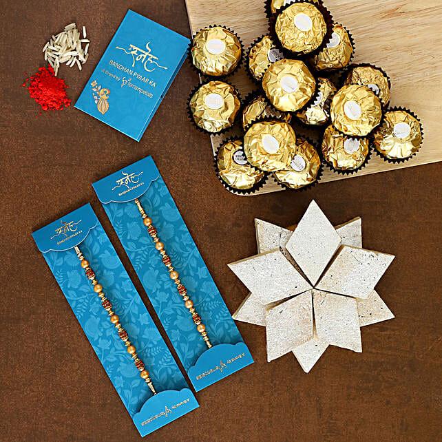 2 Golden Pearl Rakhis With Kaju Katli And Ferrero Rocher:Send Rakhi to Philippines