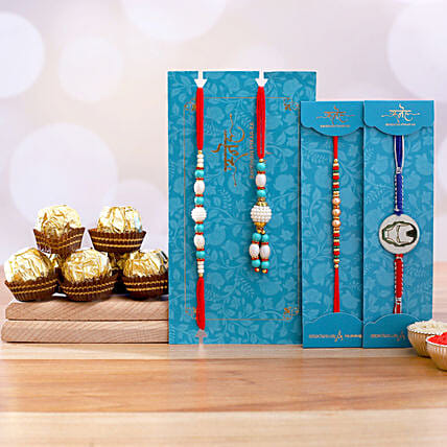 Kids Rakhi Duo And Blue Lumba Rakhi Set With 3 Pcs Ferrero Rocher:Send Rakhi to Philippines