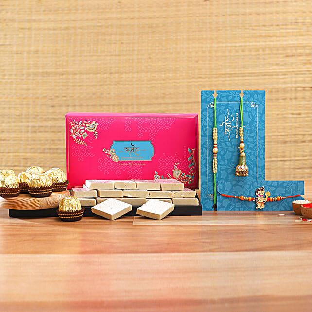 Lumba Rakhi Set And Kids Rakhi With Kaju Katli And Ferrero Rocher