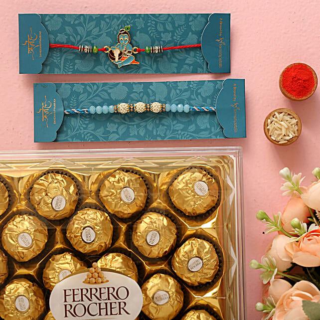 Sea Blue Pearl And Bal Krishna Rakhi Set With 12 Pcs Ferrero Rocher