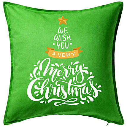 Xmas Greetings Green Cushion:Christmas Gift Delivery in Poland