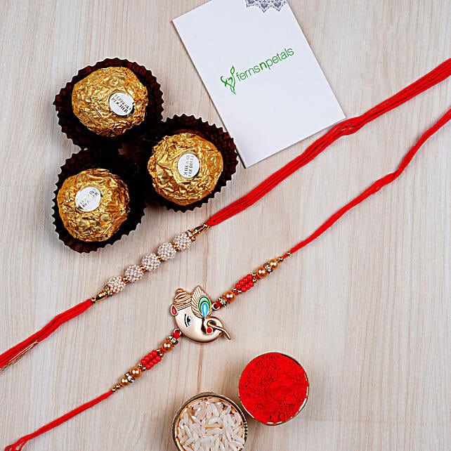 3 Pcs Ferrero Rocher And Rakhis Combo