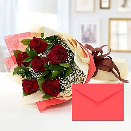 6 Red Roses Bouquet With Greeting Card:Send Birthday Flowers to Qatar