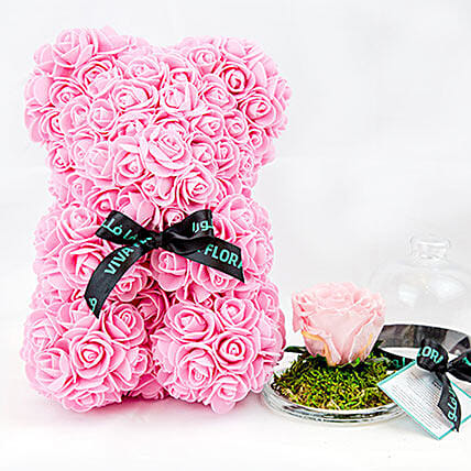 Adorable Pink Teddy With Mini Preserved Rose
