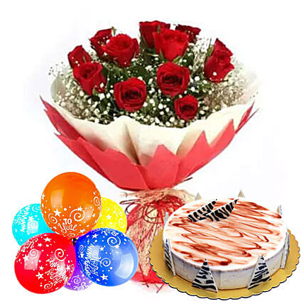 Anniversary Wishes with Cake & Red Roses
