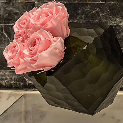 Black Geometric Vase With Pink Roses