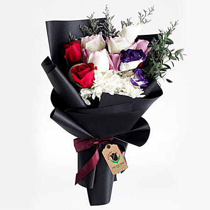 Black Wrap Mixed Flower Bouquet:Send Romantic Gifts to Qatar
