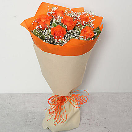 Bouquet Of Orange Roses QT:Roses Delivery in Qatar