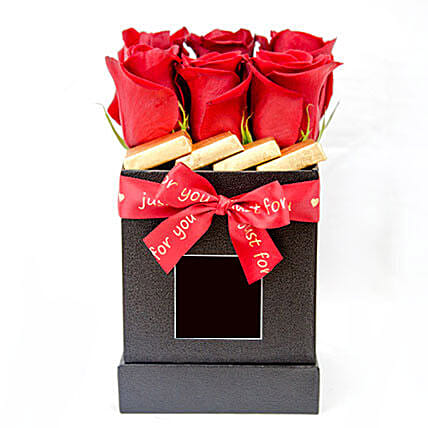 Branded Box With Roses And Chocolates:Send Wedding Gifts to Qatar