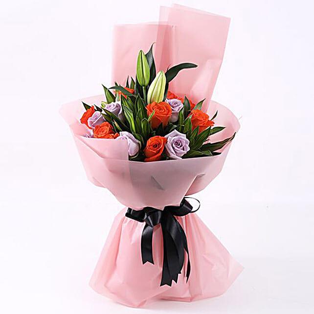purple n orange roses bouquet online