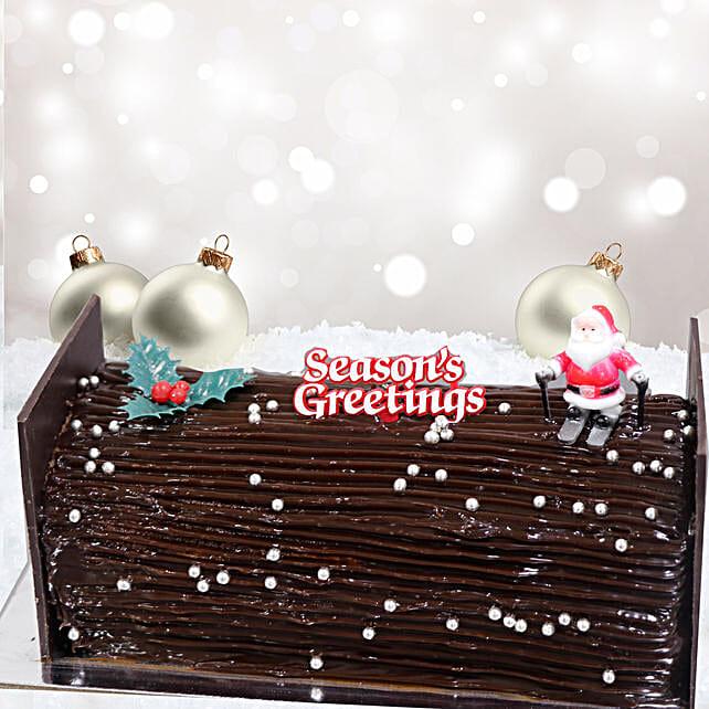 Chocolate Fudge Yule Log  Cake:Send Christmas Gifts to Qatar
