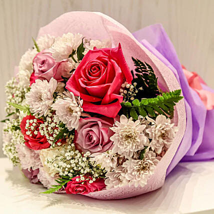Dash Of Pink And Purple Roses Bunch