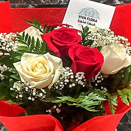 Dash Of Red And White Roses Bunch