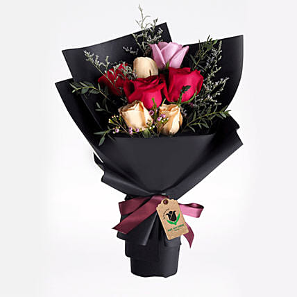 Delight Of Roses Bouquet:Send Roses to Qatar