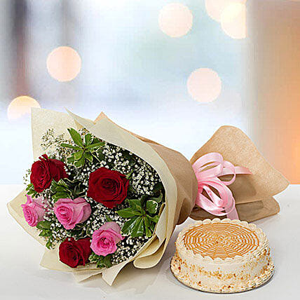 Delightful Roses Bouquet With Butterscotch Cake QT