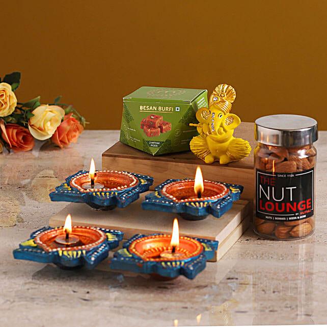 Grand Diwali Gift With Flute Ganesha Idol online:Send Sweets to Qatar