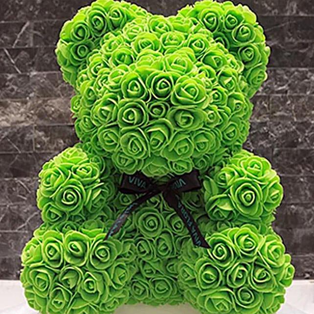 Green Rose Foam Teddy Bear:Send Soft Toy to Qatar