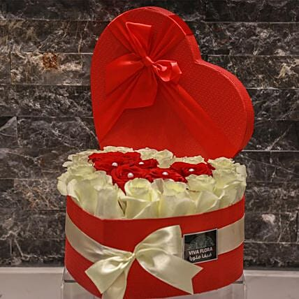 Hearty Red And White Roses In Red Box:Send Valentines Day Gifts to Qatar