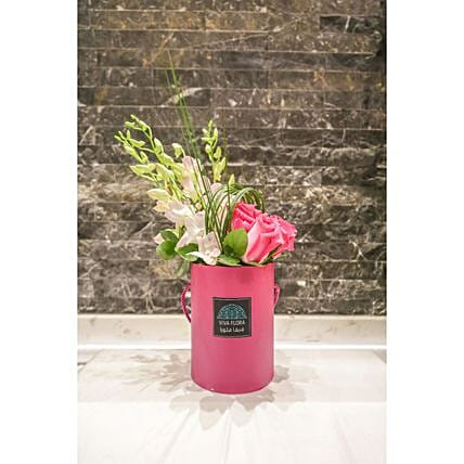 Joyful Pink Box Floral Arrangement:Mother's Day Gift Delivery Qatar