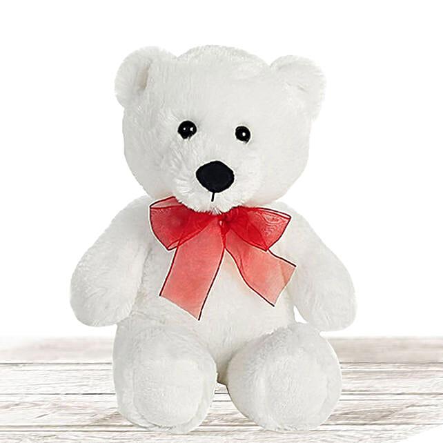 Lovable White Large Teddy Bear:Send Soft Toy to Qatar