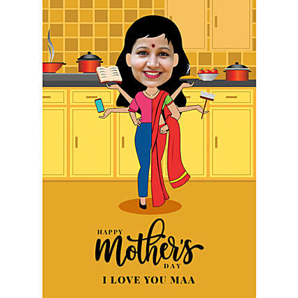Mothers Day Personalised E Caricature:Send Mothers Day Gifts to Qatar