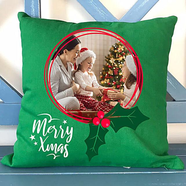 Personalised Xmas Memories Green Cushion