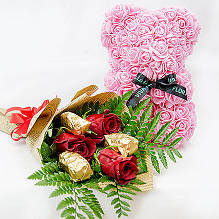 Pink Teddy With Chocolates And Rose:Send Forever Roses to Qatar