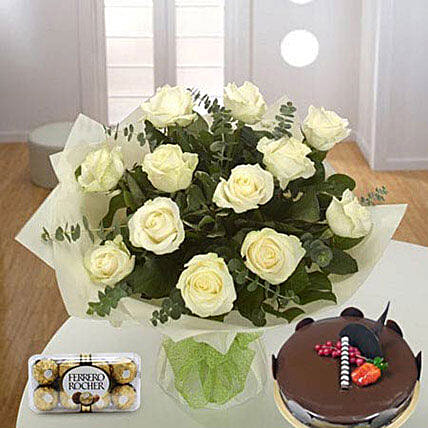 Pure Love Combo:Flower and Cake Delivery in Qatar