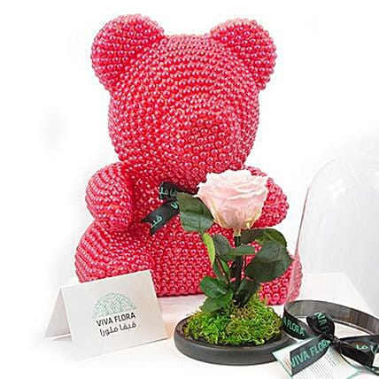 Red Pearl Bear And White Mini Rose In Glass Dome