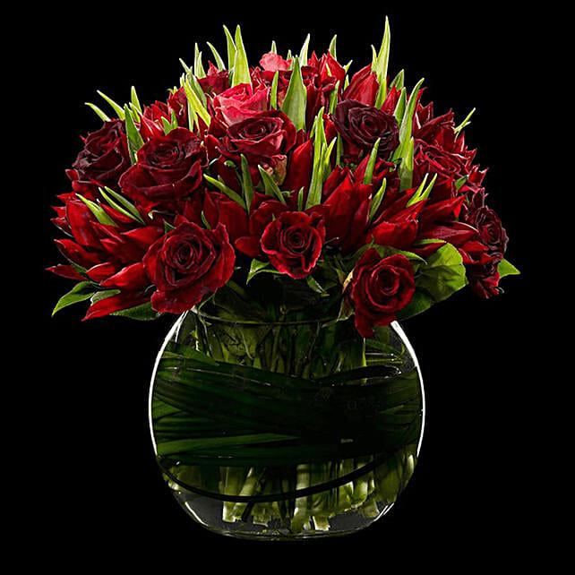 red or tulip vase arrangement online