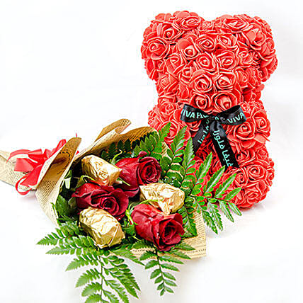 Red Teddy With Chocolates And Rose:Send Forever Roses to Qatar