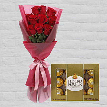 Romantic Red Roses Posy & Ferrero Rocher:Send Valentines Day Gifts to Qatar