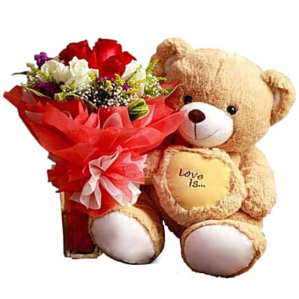 Rose Bouquet And Small Teddy Combo