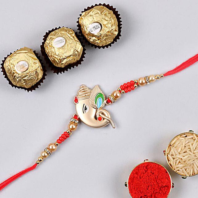 Rose Gold Ganesha Rakhi And 3 Pcs Ferrero Rocher