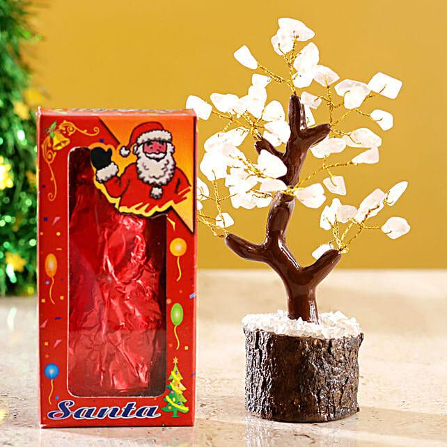 Rose Quartz Wish Tree & Choco Swiss Santa:Send Christmas Gifts to Qatar