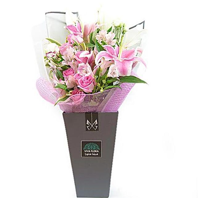 Serene Rose And Lilies Arrangement