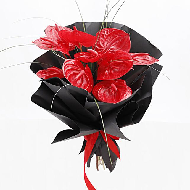 anthurium bunch in black paper wrap