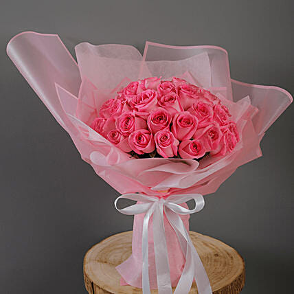 pink roses in pink  bouquet online