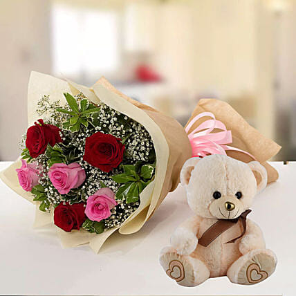 Teddy Bear & Roses Combo:Send Thank You Gifts to Qatar