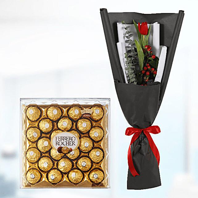tulip with chocolate box surprise online:Send Chocolate to Qatar