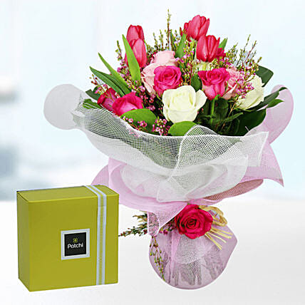 tulip n roses with chocolates online
