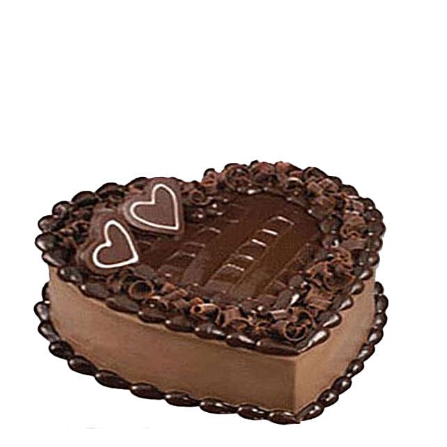 Tempting Heart Shaped Chocolate Cake