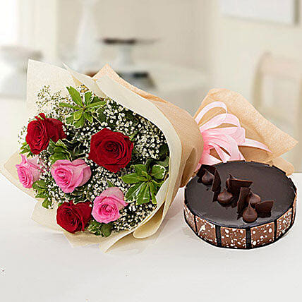 Beautiful Roses Bouquet With Chocolate Cake:Send Anniversary Flowers to Qatar