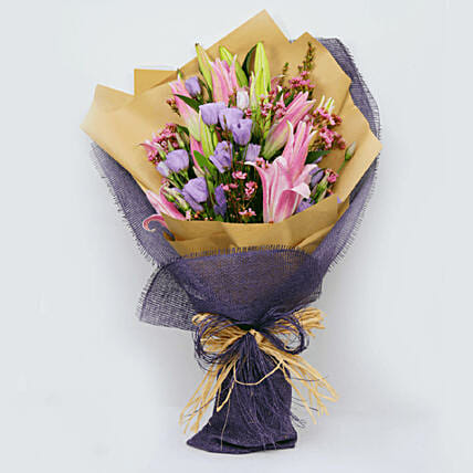 Lilies & Lisianthus Bouquet:Lilies  Delivery in Qatar