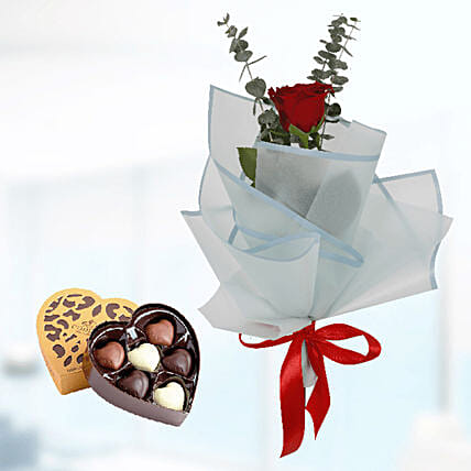 romantic bouquet with sweet chocolate