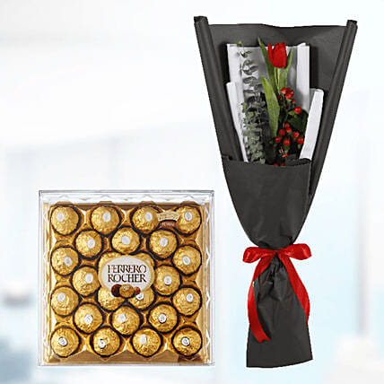 tulip with chocolate box surprise online:Send Congratulations Flowers to Qatar
